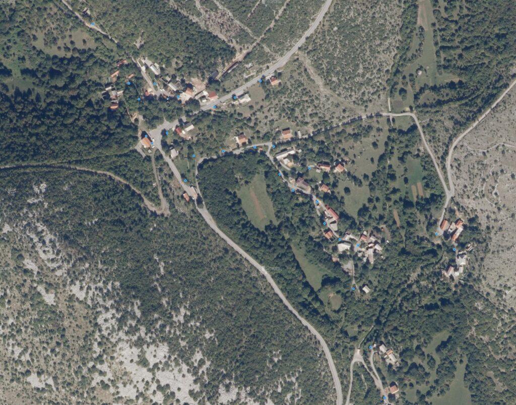Pregledna karta pozicija stupova javne rasvjete u naselju Bater