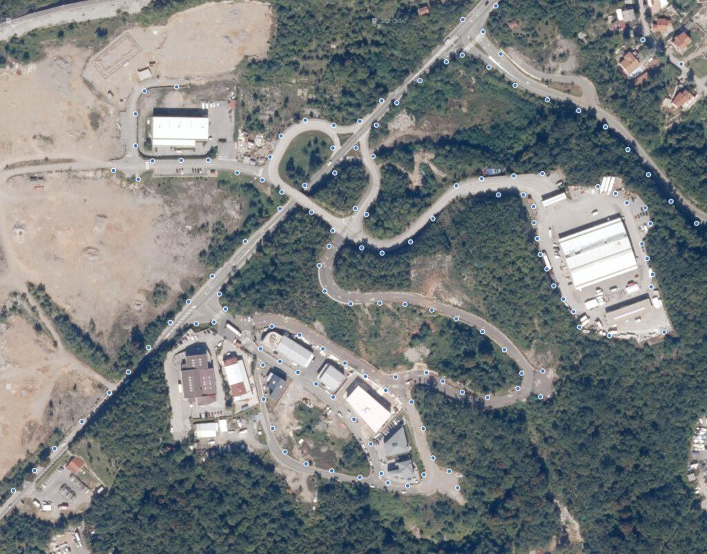 Pregledna karta pozicija stupova javne rasvjete u radnoj zoni Općine Matulji