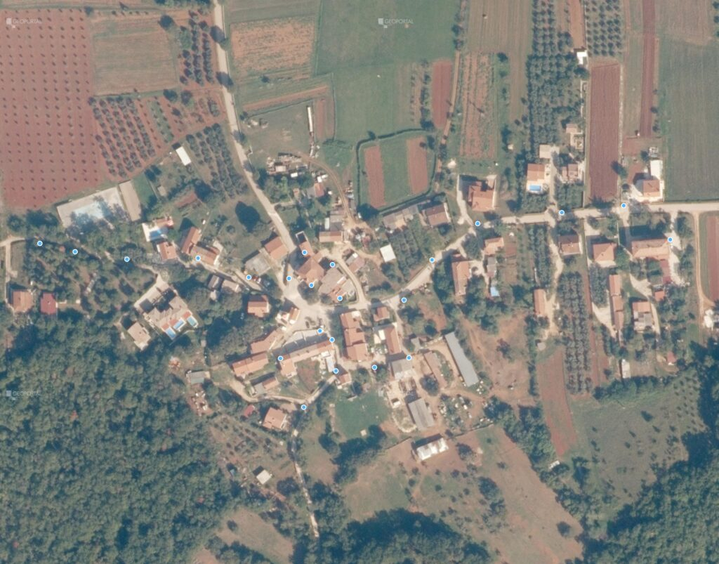 Pregledna karta pozicija stupova javne rasvjete u naselju Radini