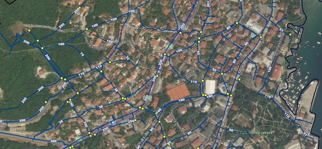 Prikaz dijela mreže evidentiranog vodoopskrbnog sustava